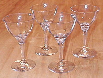 4 Signed Heisey Glasses Wabash Stems Cocktail Or Wine A