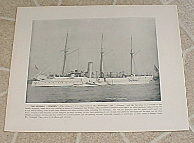 1898 Antique U.s. Navy Ship Print, Uss Concord, Drill Machine Guns
