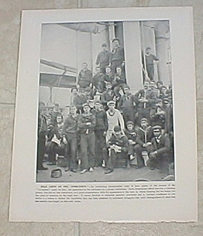 1898 Ship Print, Uss Yorktown, Uss New York Gunners Gang Petty Officer