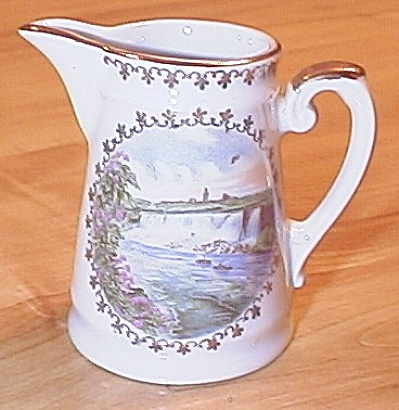 Souvenir China Old Germany Waterfalls Creamer Pitcher Niagra Falls Ny
