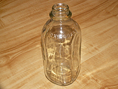 Vintage 1950's/60's Clear Glass Quart Milk Bottle, No Company Marking