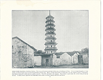 Nine Story Pagoda, Canton, China 1892 Shepp's Photographs Book Page