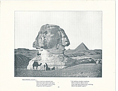 The Sphinx, Egypt 1892 Shepp's Photographs Original Book Page