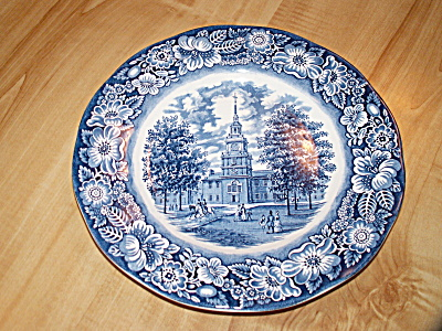 Liberty Blue China Independence Hall Dinner Plates, Staffordshire