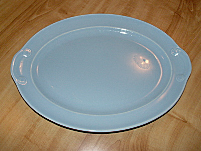 Pretty Blue T.s. & T. Lu-ray Pastels Oval Platter 13 1/4 Inches #1040