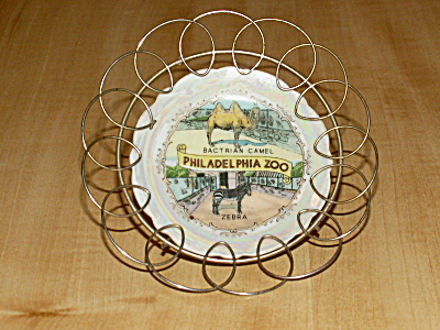 Philadelphia Zoo Souvenir China Small Dish In Stand Pa Camel Zebra