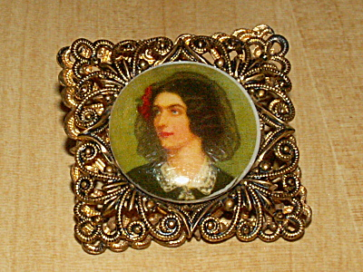 Pre Wwii Porcelain Plaque Pin Brooch Costume Jewelry Stern Germany
