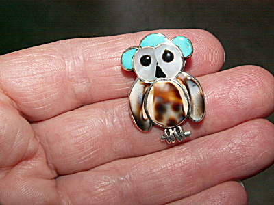 Vintage Owl Pin Brooch Pendant Artist Signed Turquoise Shell Jewelry