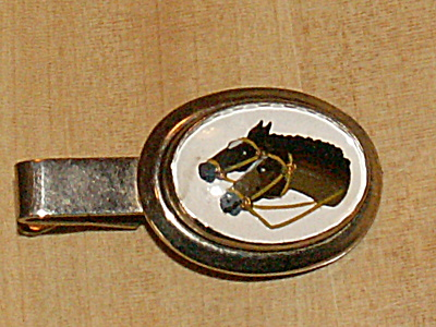 Vintage Equestrian 2 Horse Heads Men's Tie Clasp Clip Western Jewelry