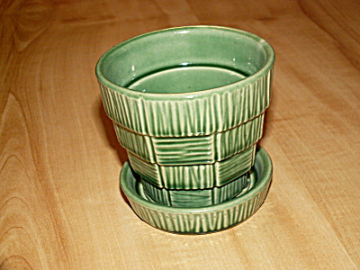 1953 Mccoy Pottery Basketweave Pot & Saucer Flowerpot Planter Green