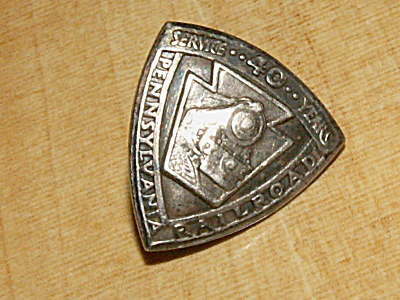 Pennsylvania Railroad Prr 40 Year Sterling Silver Cap Pin 1885-1925