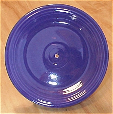 Vintage Cobalt Fiesta Pottery Plate With Hole For Tidbit Server