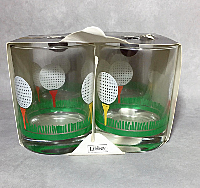 Libbey Set 4 1980s Golf Tee And Golf Ball 14 Oz. Double Old Fashioned Rocks