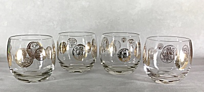 Set Four Midcentury Gold Roman Coins 3 Inch Tall Roly Poly Cocktail Glasses