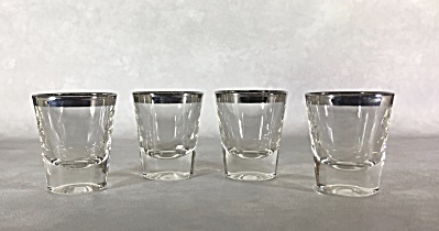 Set Of Four 2 1/4 Inch Silver Rimmed Midcentury Shot Glasses