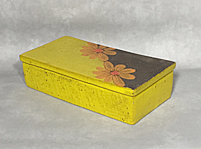 Bitossi Mid Century Yellow Orange Flower Cigarette Box