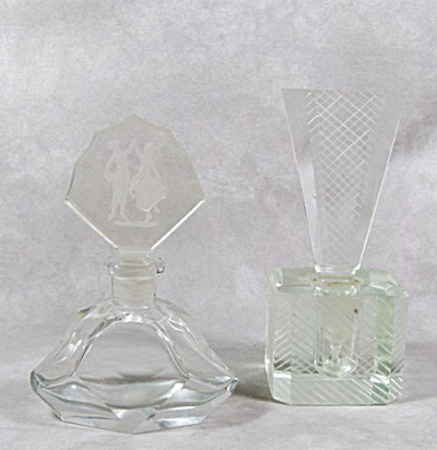 Pair Art Deco Clear Glass Perfume Bottles