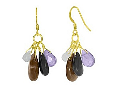 Gold Over Silver Multi-gemstone Earrings