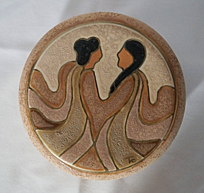 Native American Inspired Earthenware Round Covered Box By Linda