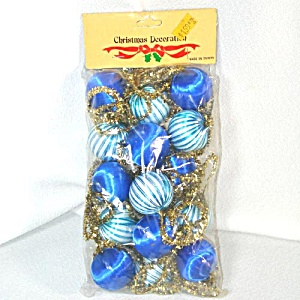 Package Blue Satin Ball And Gold Tinsel Christmas Garland