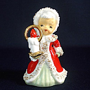 Lefton Angel Christmas Bell With Candle Figurine