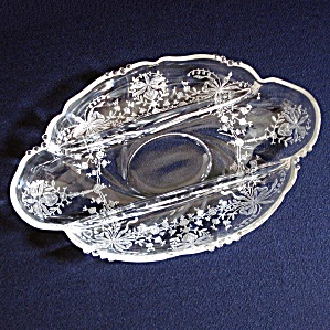 Heisey Orchid 3 Part Divided Relish Dish