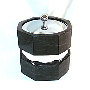 Gleaming Chrome, Black Marbled Vinyl Ice Bucket