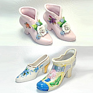 4 Decorative Flowered Porcelain Shoe Slipper Figurines