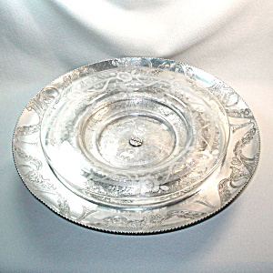 Hand Wrought Aluminum Lazy Susan With Glass Tray
