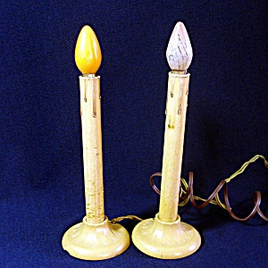 2 Lighted 1930s Christmas Window Candoliers Bakelite Bases