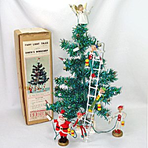 Santas Workshop 1960s Pixie Tinsel Tabletop Christmas Tree Set Boxed