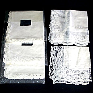 5 White Cotton Lace Wimpole Street Hankies Handkerchiefs