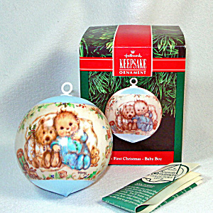 Hallmark 1991 Boy Baby's First Christmas Satin Ornament