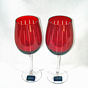 2 Mikasa Cheers Ruby Wine Goblets