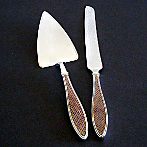 Modern Stainless Enamel Cake Knife And Server Utensil Set