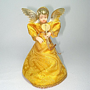 Gold Brocade Christmas Angel Doll Tree Topper