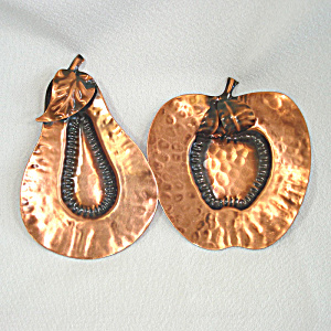 Gregorian Solid Copper Apple And Pear Spoon Rests