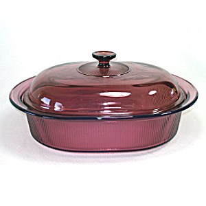 Corning Visions Cranberry 4 Quart Oval Roaster