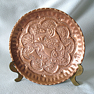 Persian Repousse Copper Swimming Fish Plate