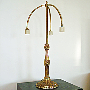 Mid Century Articulating 3 Arm Cast Brass Table Lamp