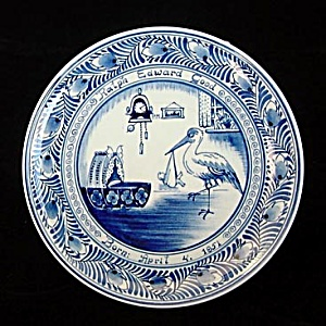 1951 Delfts Birth Plate With Baby And Stork