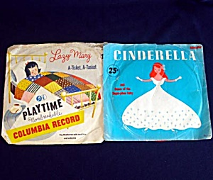 Playtime Cinderella And Lazy Mary Red Vinyl Child's 78 Rpm Records
