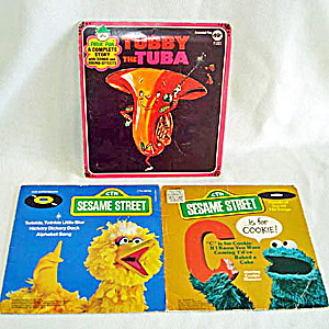 Cookie Monster, Big Bird, Tubby Tuba Child's 45 Rpm Records