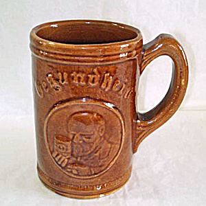 Gesundheit Yellow Ware Beer Mug Or Stein, 1930s Advertising Premium