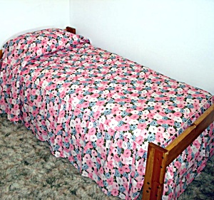 1960s Never Used Blue Pink Floral Seersucker Twin Bedspread, 2 Available