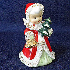 Lefton Christmas Angel Bell With Tree Figurine