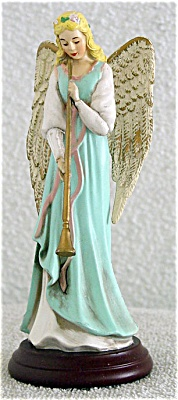 Enesco Blue Angel With Flute Musical Figurine 1994