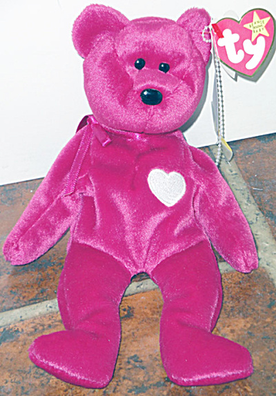Ty Valentina Magenta Red Bear With White Heart Beanie