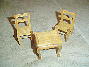 2 Chairs And 1 Table Wood Doll House Furniture