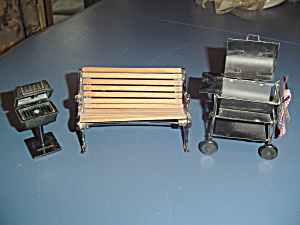 Bbq's And Park Bench Doll House Furniture